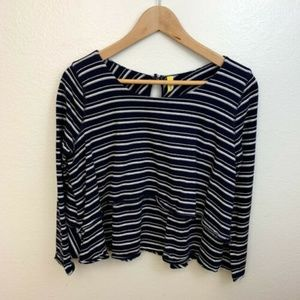 Free People Navy Blue Striped Layered Crop Top M